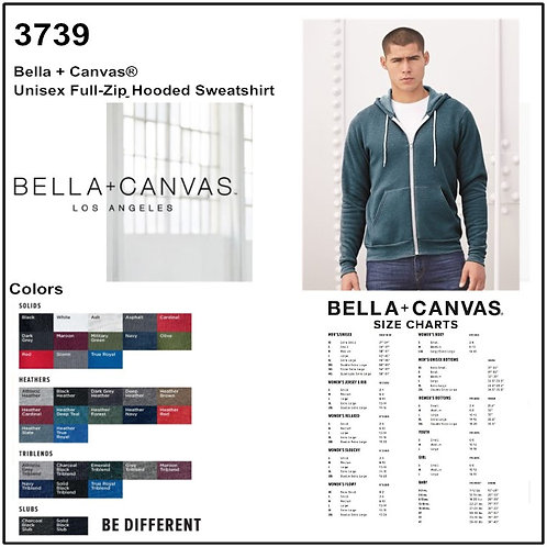 Personalize -Bella Canvas 3739 - Unisex Sponge Fleece Full-Zip Hoodie