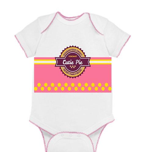 Cutie Pie Baby Onepiece  Onesie- Pink Trim