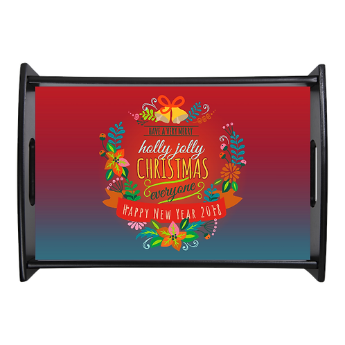 "UN5986 - 17.625"" x 11.875"" Espresso Black Serving Tray - Merry Christmas"