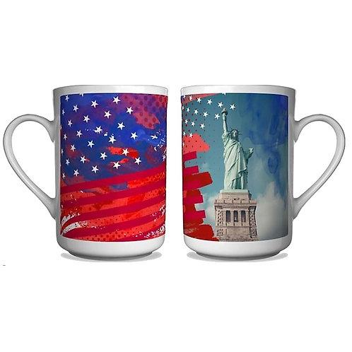 Patriotic USA Coffee Mug Memorial Day Statue Of Liberty