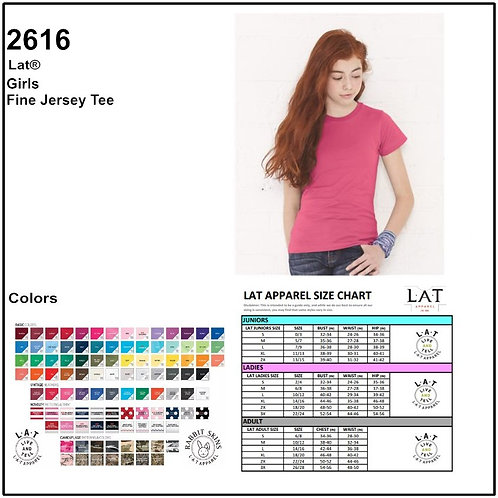 Personalize -LAT Apparel/ 2616 Girl's Fine Jersey Longer Length T-Shirt