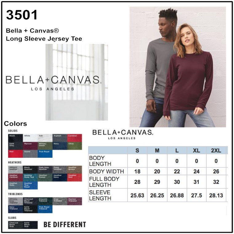 3061c4b6f5195 Personalize -Bella Canvas 3501 - Unisex Jersey Long Sleeve T-Shirt ...