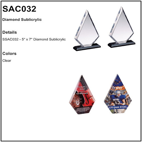 "SAC032 - 5"" x 7"" Diamond Sublicrylic"