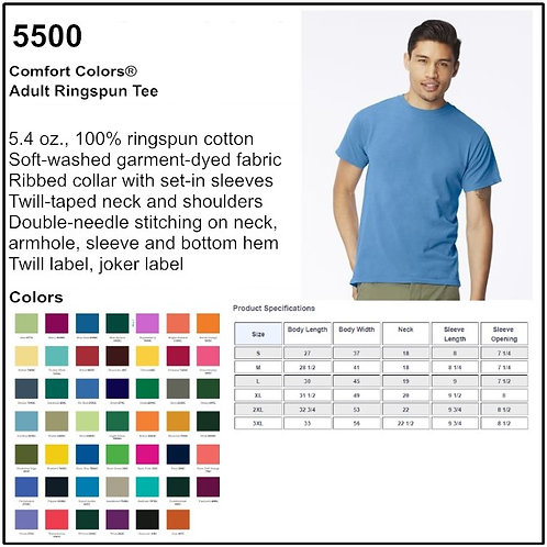 Personalize -Comfort Colors 5500 - Adult Ringspun Tee