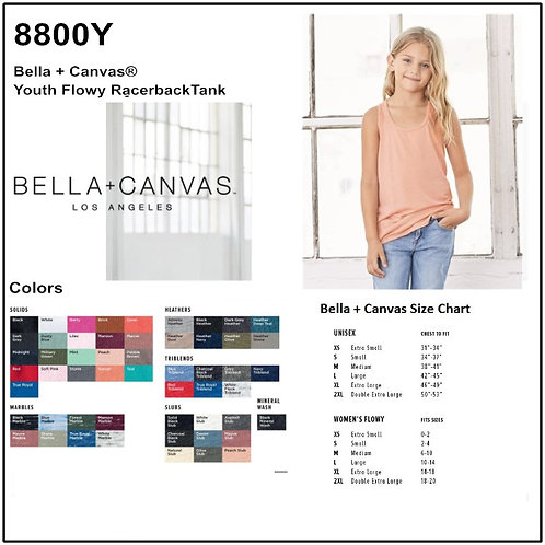 Personalize -Bella Canvas 8800Y - Youth Flowy Racerback Tank