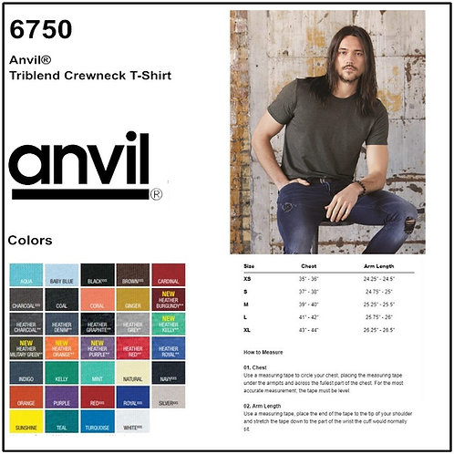 Personalize -Anvil 6750 - Tri-Blend T-Shirt