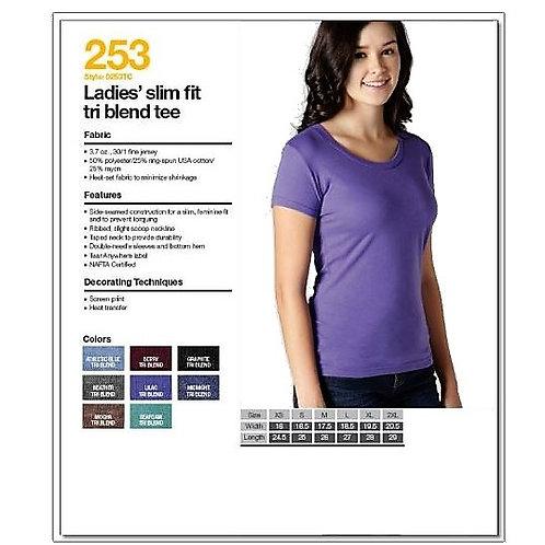 Tultex 253 - Ladies' Slim Fit Tri Blend T-Shirt