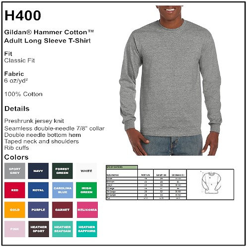 Personalize -Gildan H400 - Hammer Adult LS T-Shirt