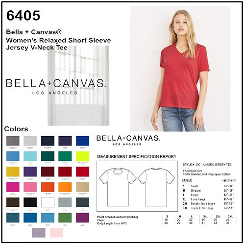 Personalize -Bella Canvas 6405 - Relaxed V-Neck Short Sleeve Tee