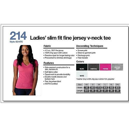 Tultex 214 - Ladies' Fine Jersey V-Neck
