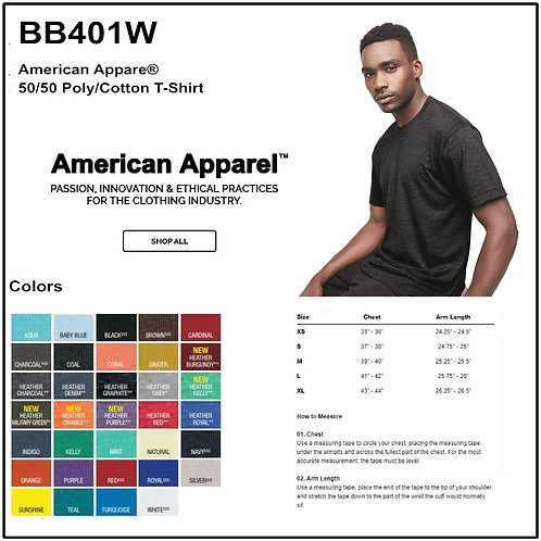 Personalize -American Apparel BB401W - Adult Poly Cotton Tee