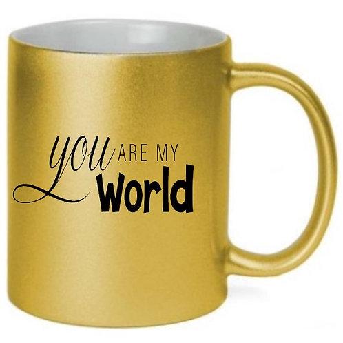You're My World Valentine's Day - Metallic Gold Coffee Mug