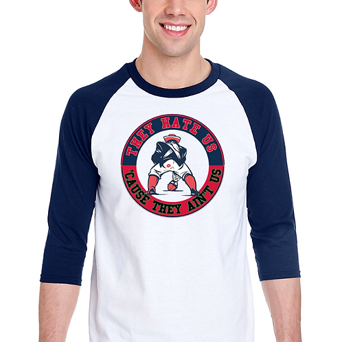 New England Patriots Raglan Tee- Superbowl 2018- Butt Kiss- White/Navy
