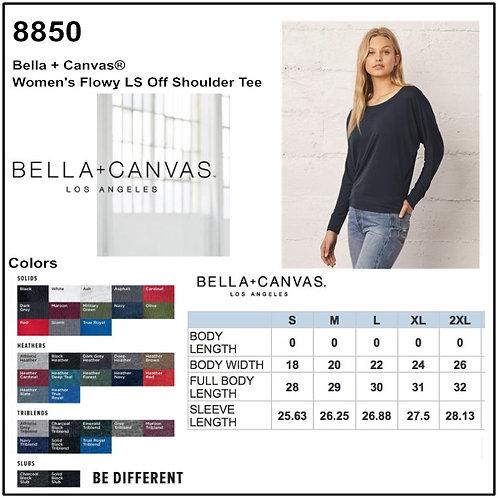 Personalize -Bella Canvas 8850 - Women's Flowy Long Sleeve Off Shoulder Tee