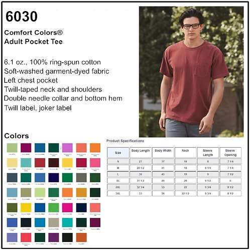 Personalize -Comfort Colors 6030 - Adult Pocket Tee