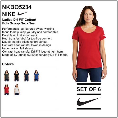Personalize - Nike Ladies Dri-FIT Scoop Neck Tee - NKBQ5234 (Set of 6)