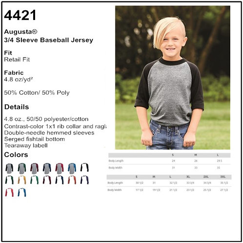 Personalize - Augusta 4421 - Youth Baseball Tee