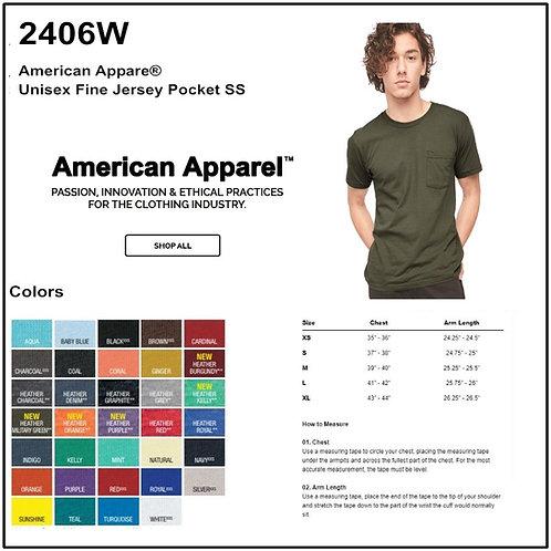 Personalize -American Apparel 2406W - Fine Jersey Pocket Tee