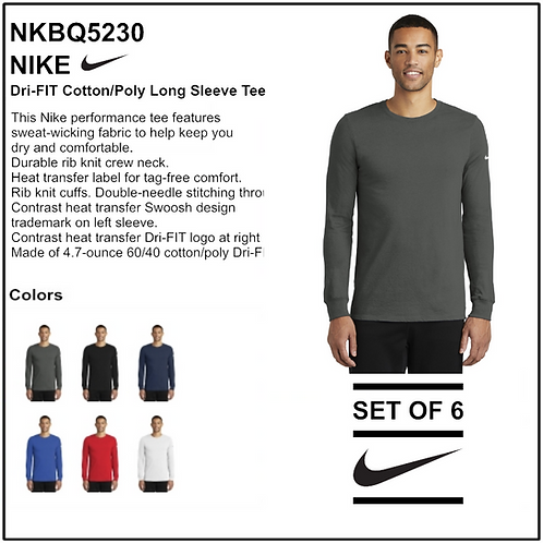 Personalize - Nike Dri-FIT Cotton/Poly Long Sleeve Tee - NKBQ5230 (Set of 6)