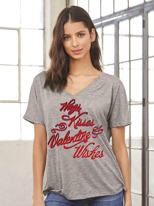 Hugs & Kisses Valentine's Day Slouchy V-Neck - Vintage Bella+Canvas BC8815