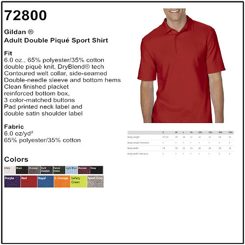 Personalize - Gildan 72800 - Adult Double Pique Sport Shirt