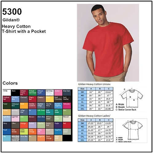 Personalize -Gildan 5300 - Heavy Cotton T-Shirt With Pocket