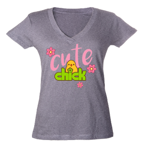 Cute Chick V Neck Tee- Grey