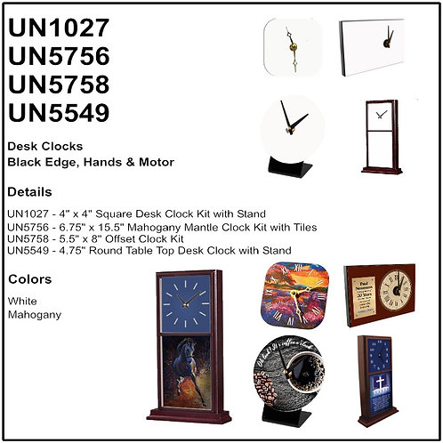 "Personalize U5549 - 4.75"" Round Table Top Desk Clock with Stand"