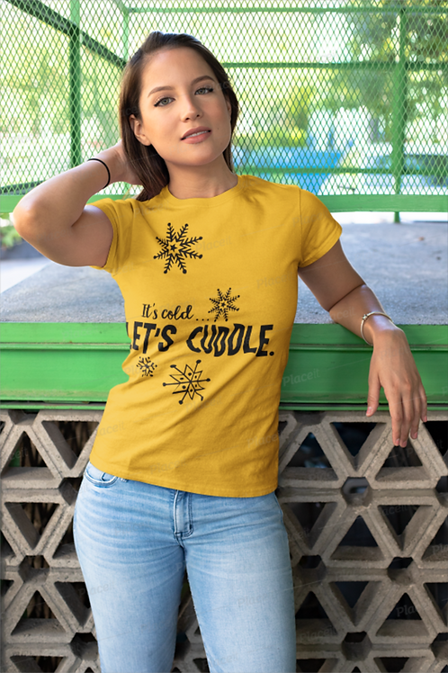 Vintage Its Cold, Lets Cuddle Tee - Bella+Canvas BC8413