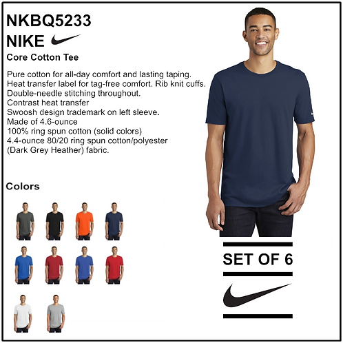 Personalize - Nike Core Cotton Tee - NKBQ5233 (Set of 6)