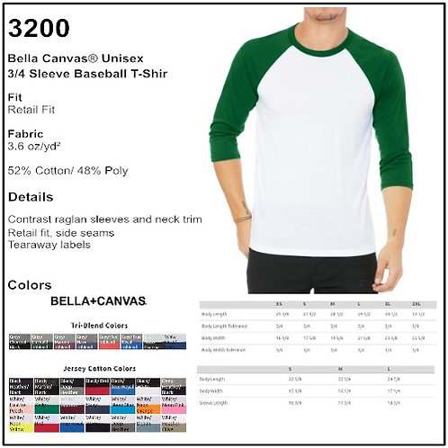 Personalize - Bella-Canvas 3200 - Unisex 3/4 Sleeve T-Shirt