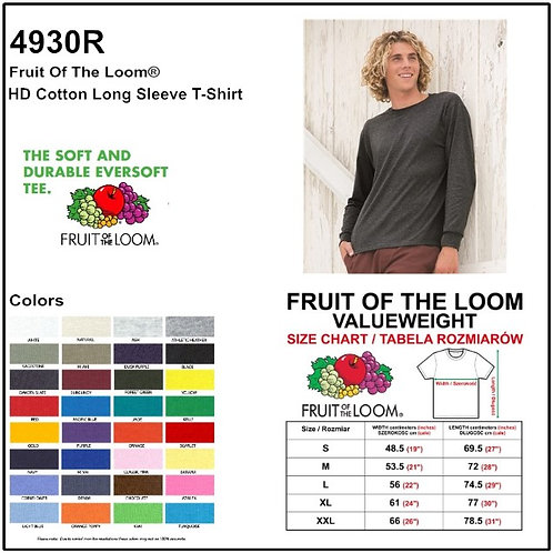 Personalize -Fruit Of The Loom 4930R - HD Cotton Unisex Long Sleeve T-Shirt
