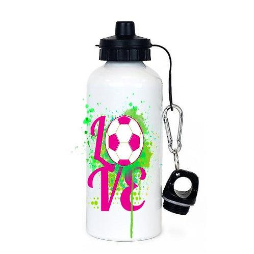 Love Soccer- White Sublimation Water Bottle