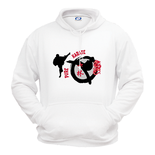 Gildan 18500- Pure Karate Martial Arts- Fleece Sweatshirt Hoodie- White