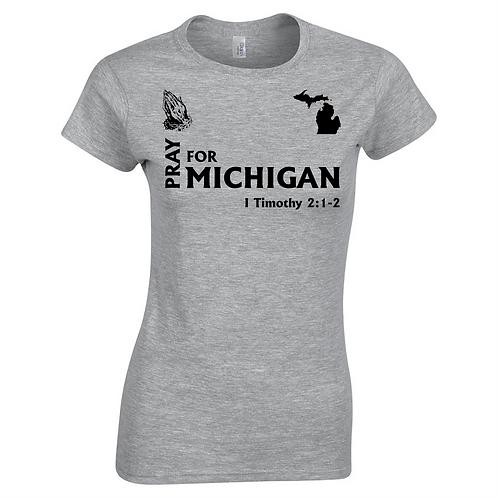 Pray For Michigan T Shirts- Grey
