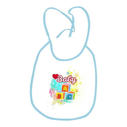 Sublimation Baby Bib with color ring and string- Blue