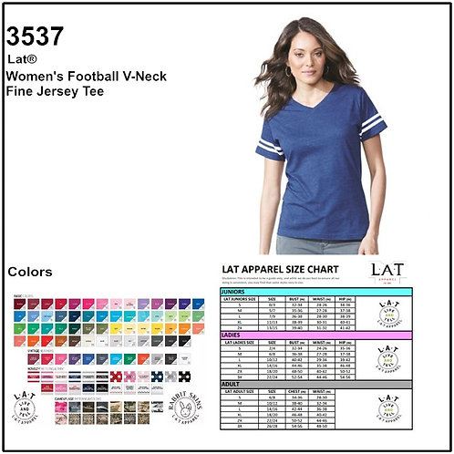 Personalize -LAT Apparel / 3537 Ladies' Fine Jersey Football T-Shirt