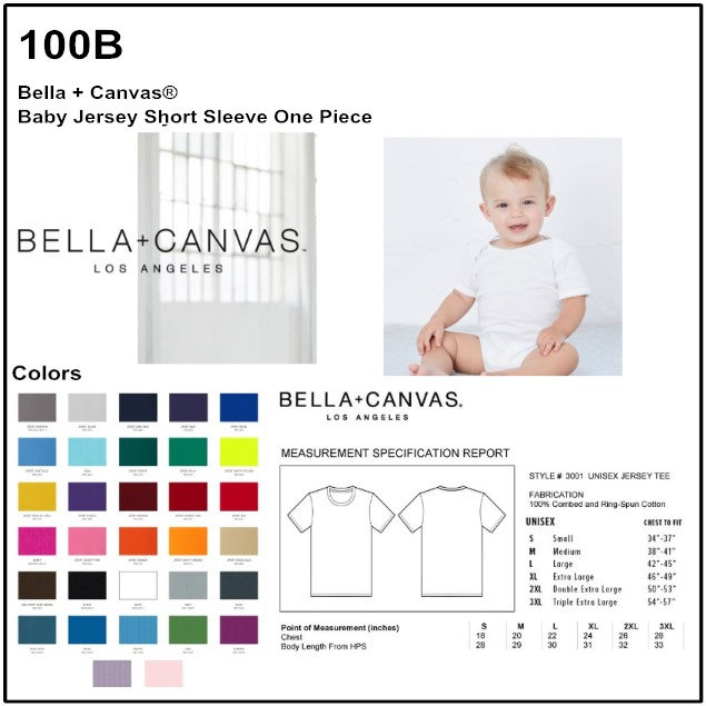 1af84dfe3 Personalize -Bella Canvas 100B - Baby Short Sleeve Onesie | 4aprints