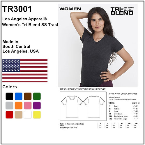 Personalize -Los Angeles Apparel TR3001 - Women's Tri-Blend SS Track Tee
