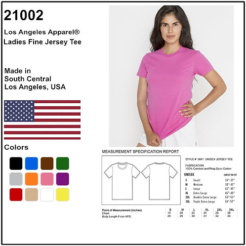 Personalize -Los Angeles Apparel 21002 - Ladies Fine Jersey Tee