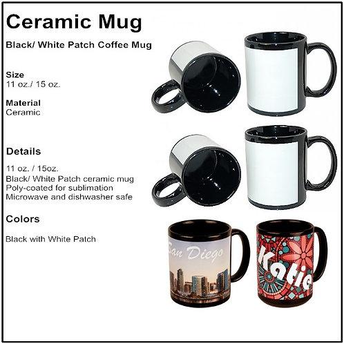 Personalize - Black/ White Patch Coffee Mugs