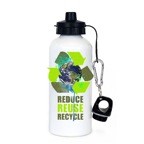 Earth Day- White Aluminum Sublimation Water Bottle