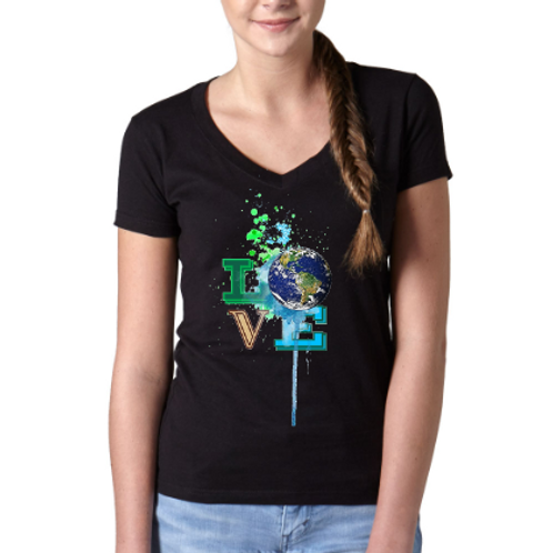 Love Earth Day - Youth & Ladies V-Neck Tee- Black Model