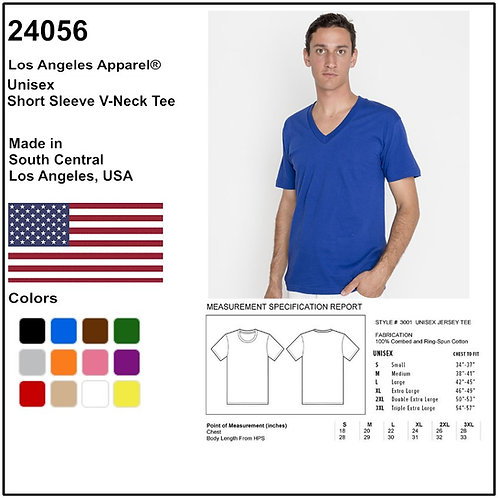 Personalize -Los Angeles Apparel 24056 - Unisex Short Sleeve V-Neck Tee
