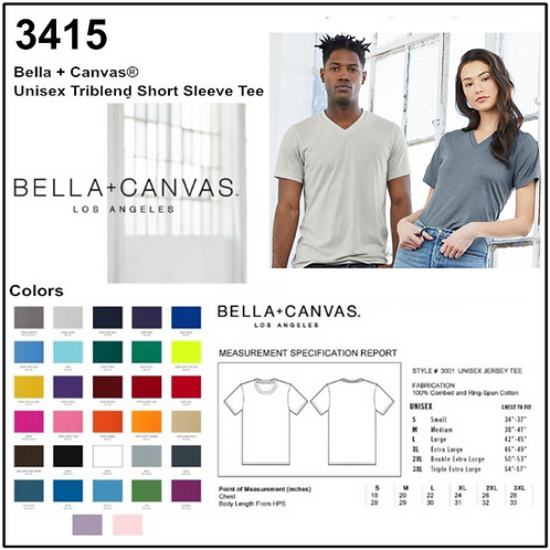 Personalize -Bella Canvas 3415 - Unisex Triblend V-Neck Short Sleeve Tee