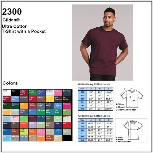 Personalize -Gildan 2300 - Adult Ultra Cotton T-Shirt With Pocket
