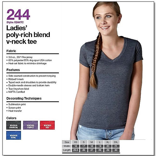 Tultex 244 - Ladies' Poly-Rich Blend V-Neck T-Shirt