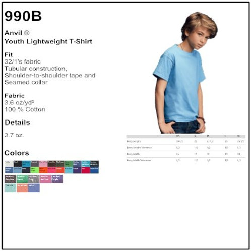 Personalize -Anvil 990B - Youth Lightweight T-Shirt
