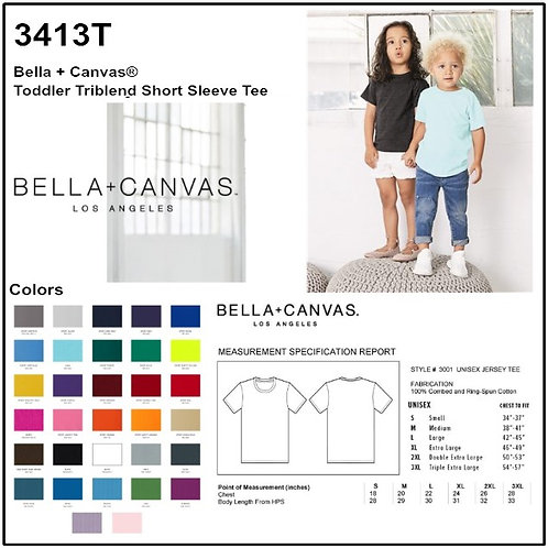 Personalize -Bella Canvas 3413T - Toddler Triblend Short Sleeve Tee
