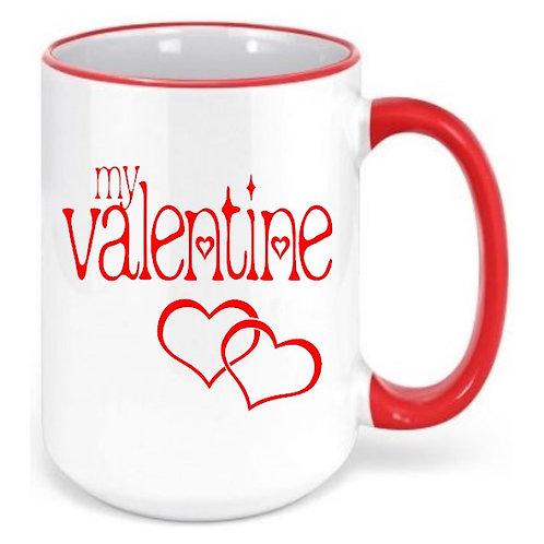 My Valentine - Valentine's Day Colored Rim & Handle Coffee Mugs